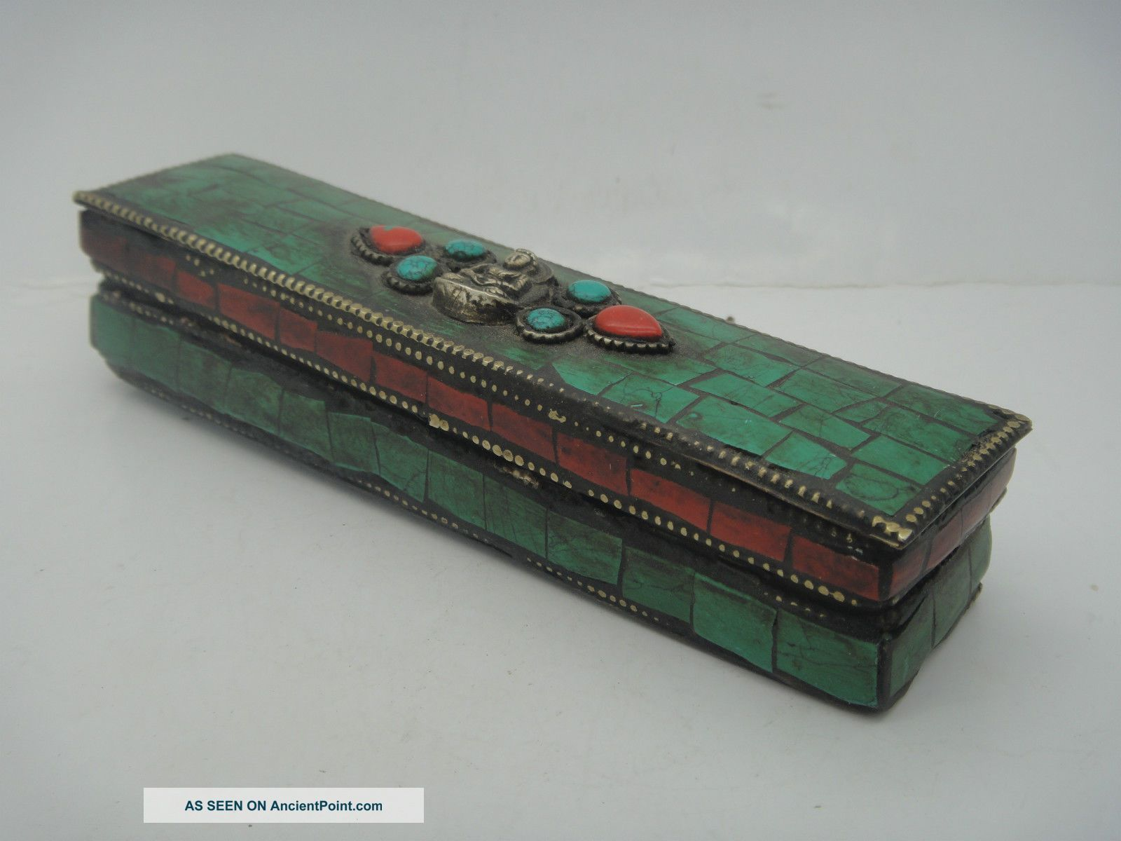 Buddhist Bronze Tibet Vajra Inlay Turquoise Coral Pharaoh Exorcism Statue & Box Boxes photo