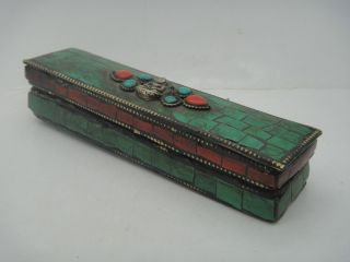 Buddhist Bronze Tibet Vajra Inlay Turquoise Coral Pharaoh Exorcism Statue & Box photo