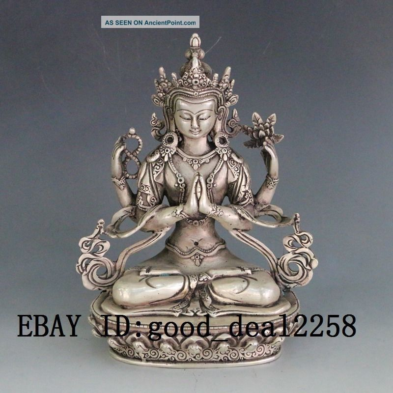 Chinese Silver Copper Hand - Carved Kwan - Yin Buddha photo