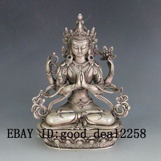 Chinese Silver Copper Hand - Carved Kwan - Yin photo