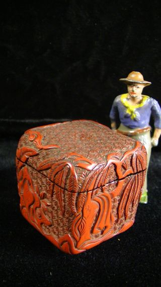 Carved Cinnabar Lacquer Snuff Box W,  Frog,  Man &tree W.  Hanging Garment,  Antique photo