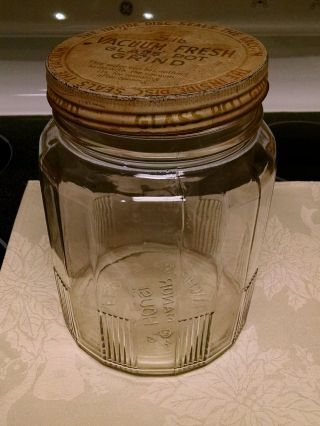 Vintage Mclaughlin ' S 3 Lb Manor House Coffee Clear Glass Jar With Lid 1936 Owens photo