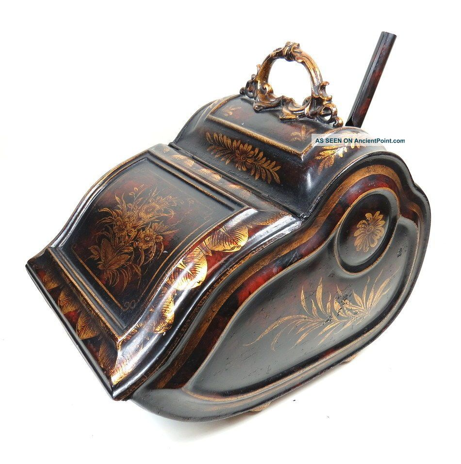 Antique Victorian Handpainted Gold Floral Wheeled Metal Coal Scuttle With Scoop Hearth Ware photo