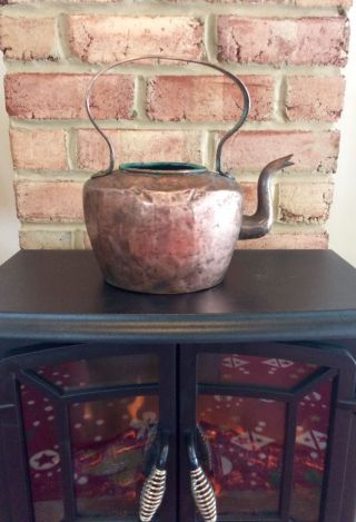 Antique Handcrafted Dovetailed Copper Tea Kettle photo