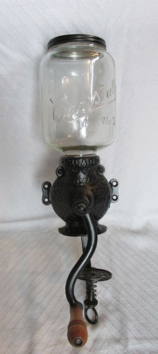 Antique Cast Iron Painted Black Arcade Crystal No.  3 Wall Mount Coffee Grinder photo
