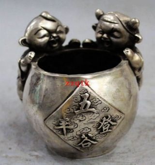 Chinese Qing Qianlong Silver 2 Children Kid Statue Ashtray Bowl Censer 8