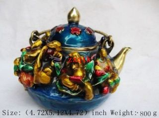 Ming Xuande Years In Ancient China,  The Eight Immortals Cloisonne Teapot Cx1043 photo