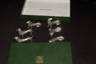 (6) Porte - Couteaux - Dachshund Knife Rests - Etains Du Manoir photo