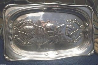 Art Nouveau English Sterling Silver Carte De Visit Tray Raised Angels C.  1904 photo