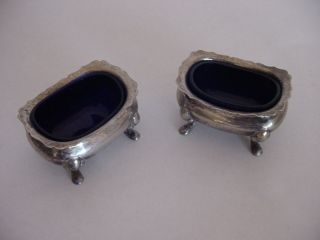 Vintage Regis Plate Reg Epns England Silver Plated Salt Celler W/ Cobalt Liner photo