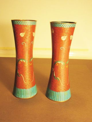 Antique Chinese Flower Design Cloisonne Enamel Vases Red & Blue China photo