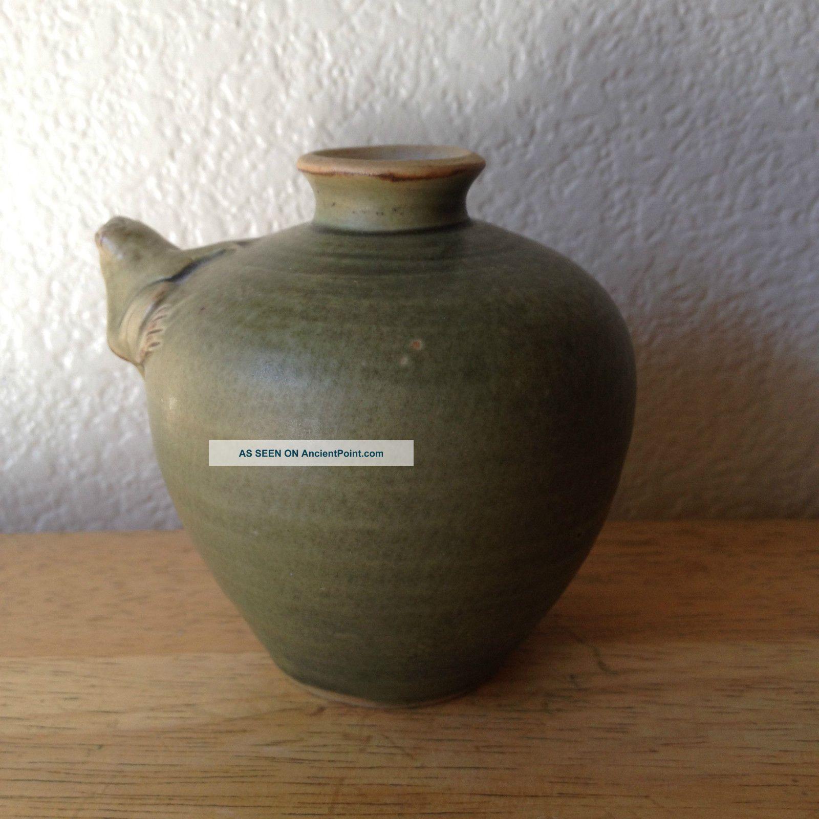 vintage clay frog vase