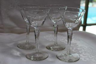 4 Vintage Etched Crystal Stemware - Sherry Stemmed Cordial Glasses Floral Design photo
