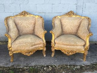 , Pair,  French,  Louis Xv Chairs,  Antique/vintage,  Rare photo