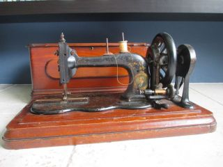 Rare Antique Bradbury Wellington Family Fiddle Base 1891 Sewing Machine In Case photo