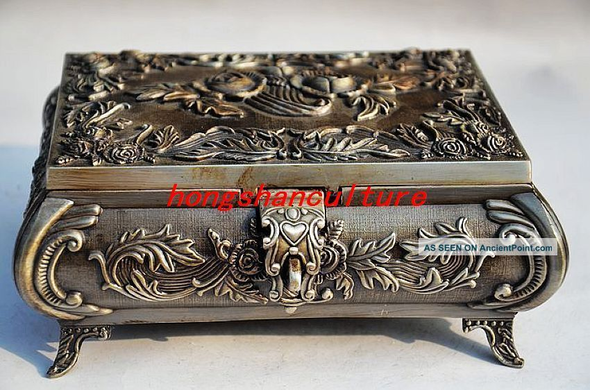 Chinese Silver Copper Handmade Rose Jewelry Box Boxes photo