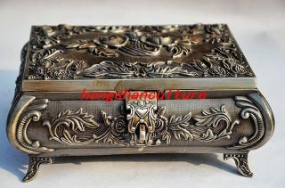 Chinese Silver Copper Handmade Rose Jewelry Box photo