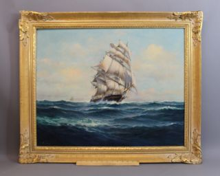 Large Antique Arthur Bracy Maritime Clipper Sailing Ship Seascape Oil Painting photo