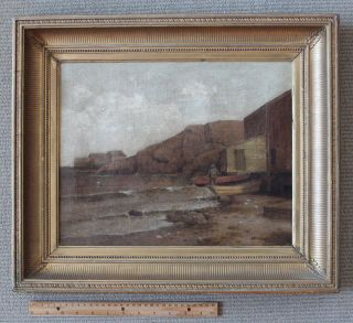 Fine Antique Oil Canvas/william Huston/fisherman & Dories/monhegan Maine photo