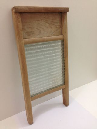 Vintage Glass Rustic Wood Frame Washboard photo