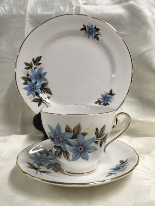 Royal Stafford Trio Teacup Saucer Dessert Plate England Cheshire Blue Bonnet photo