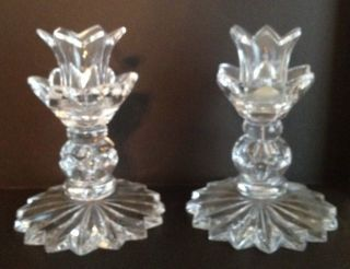 Vintage English Cut Glass Candlesticks.  Starburst Pattern 5
