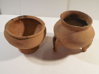 2 Nicoya Bowls Rattle Legs Pre - Columbian Archaic Ancient Artifacts Disquis Mayan photo