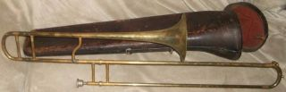 Vintage Trombone Victor Howard W Foote&co York&sons Mouthpiece Old Leather Case& photo