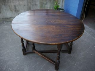 Large Antique European Solid Oak Drop Leaf Dining Table Circa 1860 photo