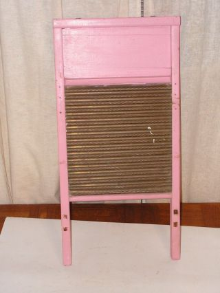 Antique Painted Pink Wooden And Brass Well Washboard Debossed Brass Name photo