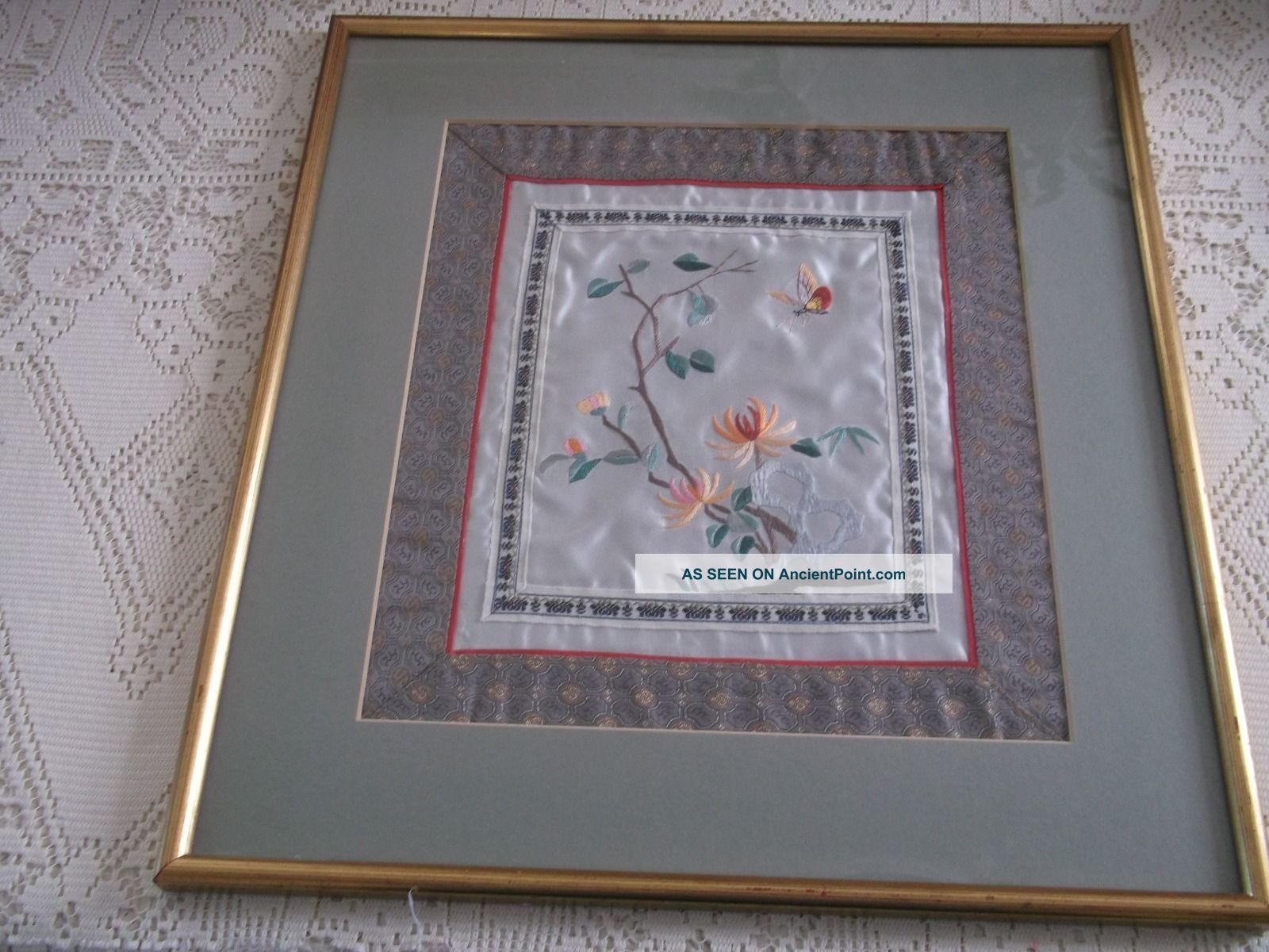 Oriental Embroidered Silk Butterfly And Flowers Picture. Textiles photo