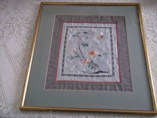 Oriental Embroidered Silk Butterfly And Flowers Picture. photo