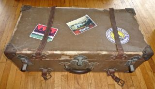 Big Vtg Pirate Rustic Shabby Chic Style Old Suitcase Trunk Travel Decals Straps photo