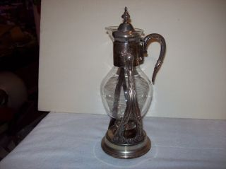 Vintage Newport Silverplate Coffee / Tea Glass Carafe With Candle Base Warmer photo