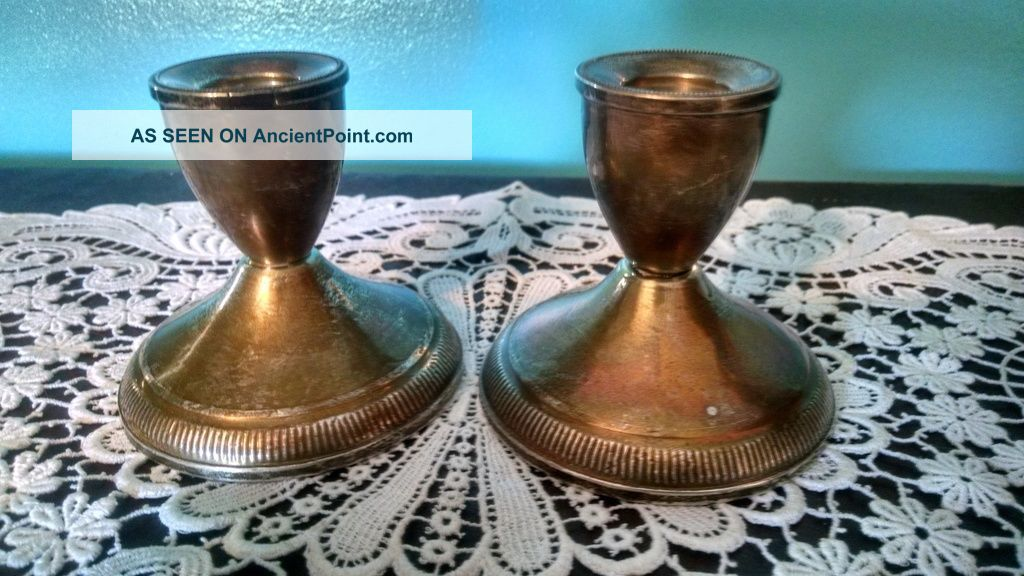 Pair Sterling Silver Weighted Candle Holders Duchin Creations Patina Vtg Candlesticks & Candelabra photo