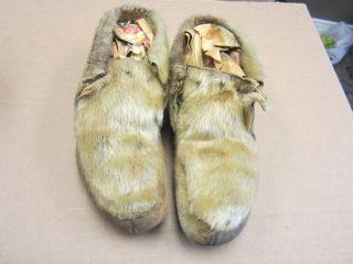 Inuit Eskimo Moccasins Sealskin Antique Indian photo
