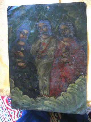 Antique Retablo On Tin The Holy Trinity 10  By 13 3/4 photo