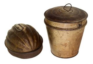 Tin Food Mold Kitchen Two Pudding Melon Patina Antique 1800 photo