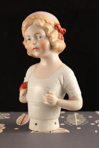 Rare Antique Porcelain German Half Doll Blonde Child Girl Red Ball 5708 Heubach photo