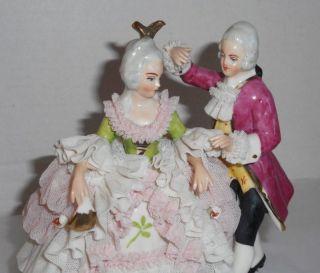 Dresden Porcelain Lace Crinoline Couple Figurine Germany photo