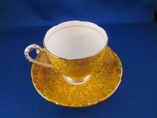 Royal Grafton Bone China Tea Cup Made Of England Yellow W/gold Trim photo