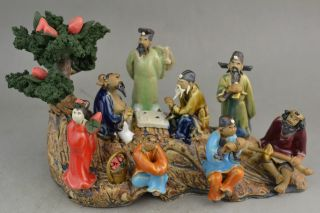 Collectible Handwork Old Porcelain Carving Chinese 8 Immortal On Boat Statue photo