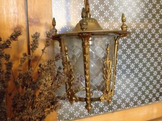 Vintage Lantern With Cut Glass.  Indoor Outdoor photo