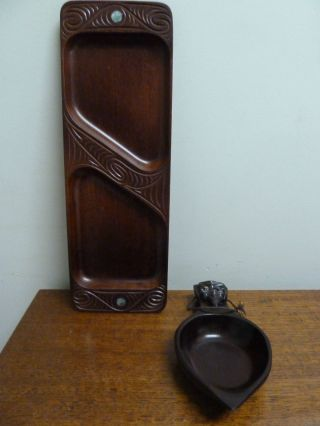 Two Vintage Zealand Maori Carved Serving Dishes photo