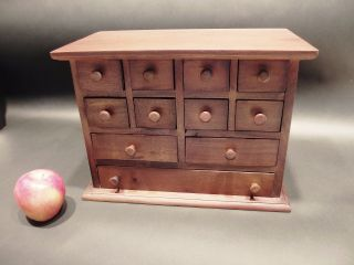 Primitive Antique Style Mahogany Wood Apothecary Spice Chest Cabinet 11 Drawers photo