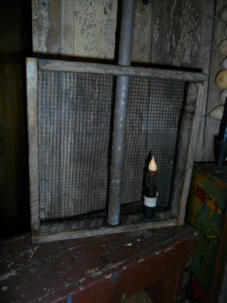 Primitive Rustic Grain Screen / Sifter W/ Handle - Candle Light,  Farmhouse photo