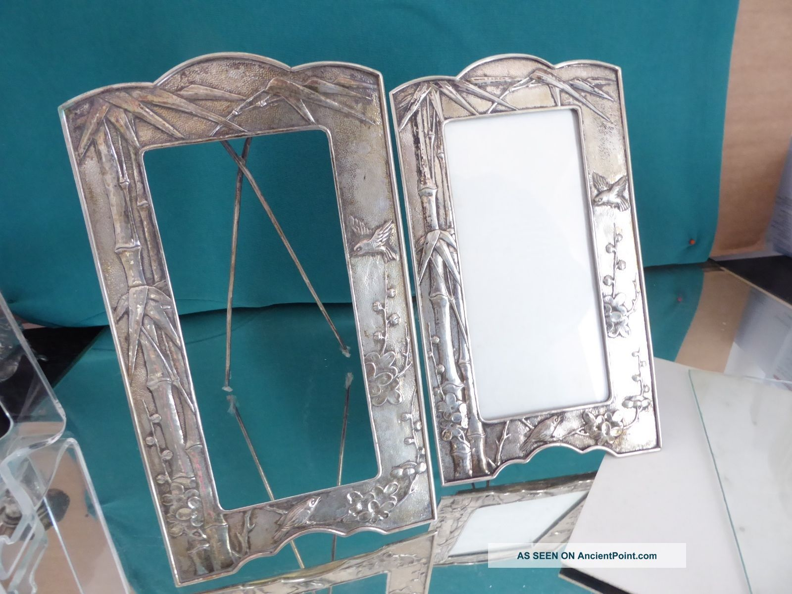 2 Frame Bamboo Decor Relief China Export Solid Silver Mz.  Tuck Chang Boxes photo