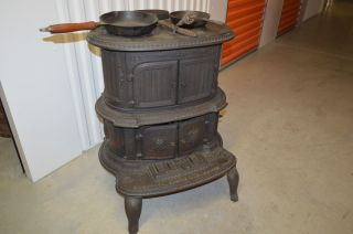 Rare Antique Ornate Cast Iron Wood Burning Parlor Stove With Accessories. photo