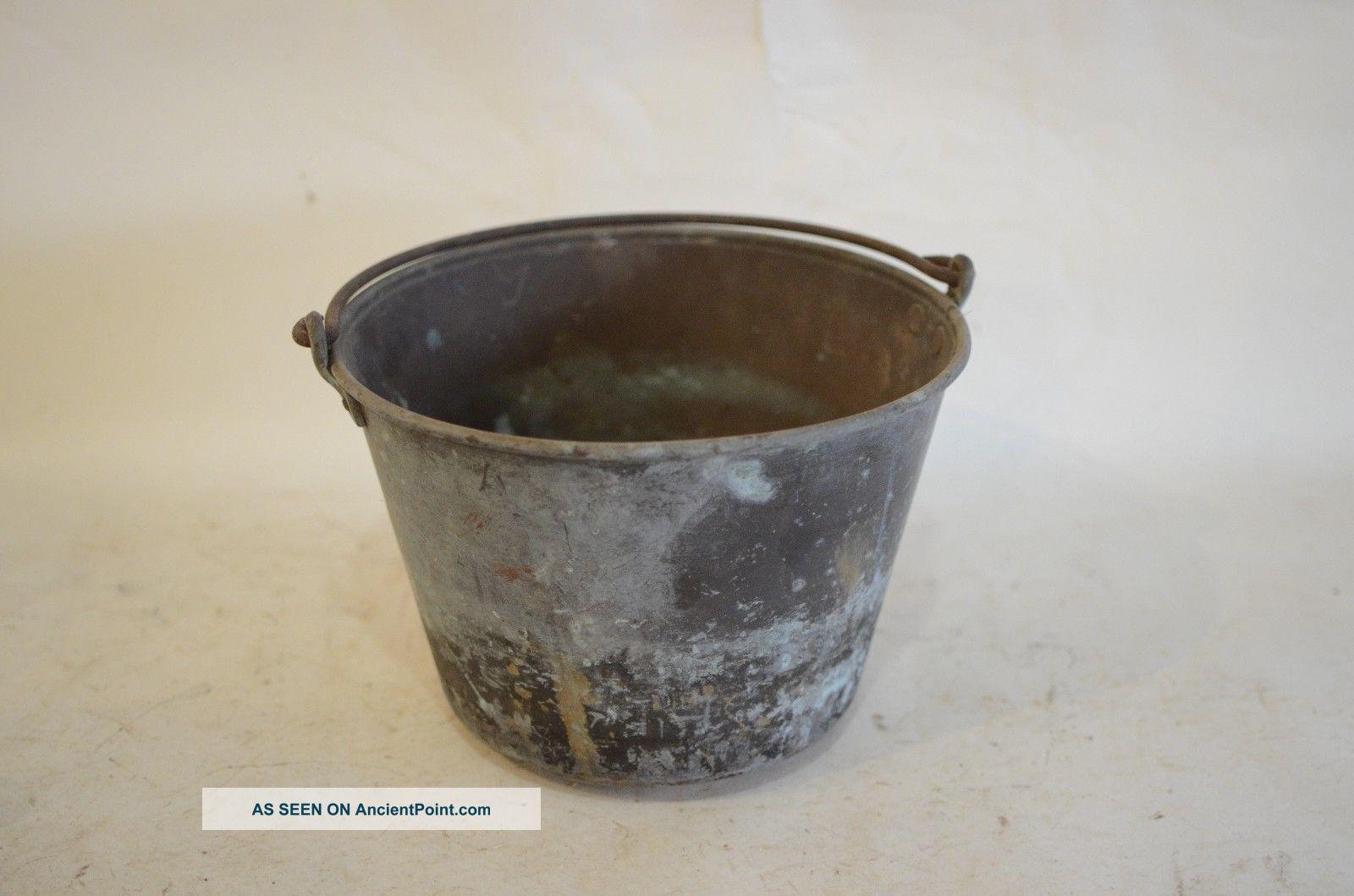 Ansonia Brass Cauldron Bucket Pail Kettle Pot Antique Fireplace Hearth Ware photo