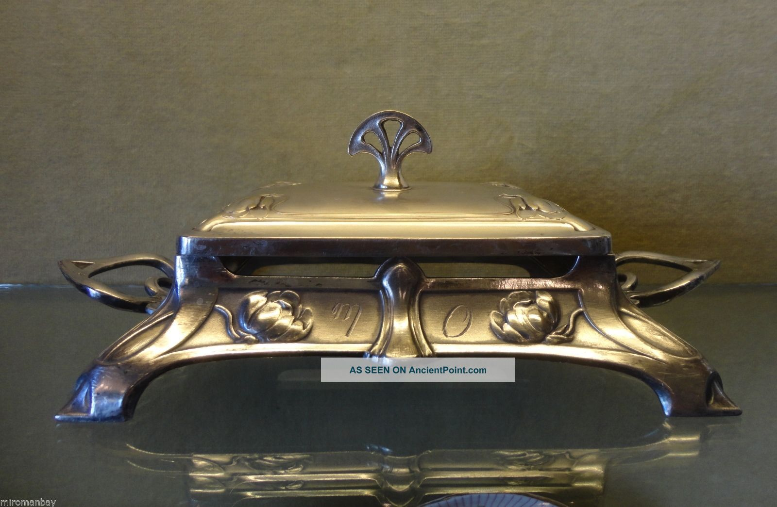 Antique Wmf Art Nouveau Silver Plated Butter Dish Germany photo